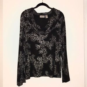 Chico's Travelers Black and Silver Top Size 3!